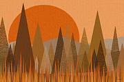 Fall Colors Autumn Colors Posters - October Sunset Poster by Val Arie