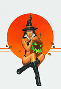 Pin-up Paintings - Octobers witch by Stacy Drum