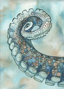 Blue Mushrooms Painting Posters - Octopus Tentacle Arm Poster by Tamara Phillips