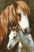 Wild Horse Prints - Oda and Hopscotch Print by Linda L Martin