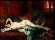 Harem Metal Prints - Odalisque a Leventail Metal Print by Pg Reproductions