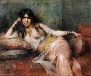 Famous Artists - Odalisque with Tambourin by Henri Adrien Tanoux