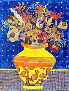 Diane Fine Mixed Media Metal Prints - Ode to a Grecian Urn Metal Print by Diane Fine