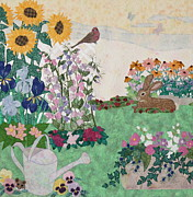 Sunflowers Tapestries - Textiles - Ode to Henry and Joys of Nature by Denise Hoag