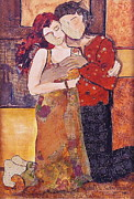 Couples Mixed Media Prints - Ode to Klimt Print by Debi Pople