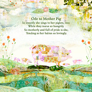 Pig Mixed Media Posters - Ode to Mother PIg Poster by Sarah Kiser