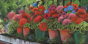 Red Geraniums Prints - Ode to Summer Print by Jeanette French