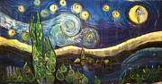 Pop Surrealism Paintings - Ode to VanGoghs Starry Night by Laurie Maves