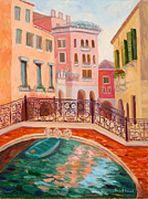 Gondolier Paintings - Ode to Venice by Karin  Leonard