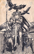Thor Drawings Prints - Odin Print by Joseph Capuana