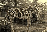 Wooden Sculptures Prints - Of a Horse sepia Print by Elizabeth Sullivan