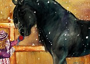 Black Stallion Paintings - Of Girls and Horses SOLD by Lil Taylor