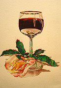 Rose Wine Paintings - Of Wine And Roses by Sandra Stone