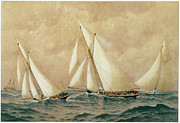 Sailboat Ocean Paintings - Off Brentons Reef by Frederic Schiller Cozzens