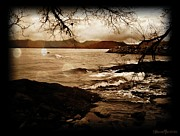 Sepia Pyrography Prints - Off the Shore Print by Sheena Pike