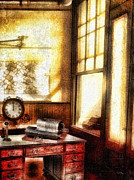 Vintage Map Mixed Media - Office by Mo T