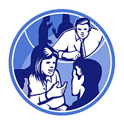 Talking Digital Art - Office Worker Businesswoman Discussion Woodcut Circle by Aloysius Patrimonio