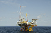 Sea Platform Prints - Offshore Natural Gas Platform Print by Bradford Martin