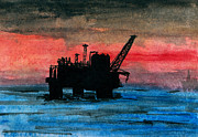 Sea Platform Painting Posters - Offshore Oil Poster by R Kyllo