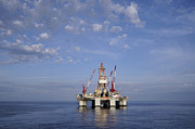 Sea Platform Prints - Offshore oil rig and sky Print by Bradford Martin