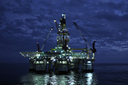 Sea Platform Framed Prints - Offshore Oil Rig At Night Framed Print by Bradford Martin