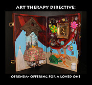 Crucifix Art Mixed Media Prints - Ofrenda art therapy directive Print by Anne Cameron Cutri