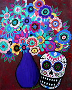 Skull Paintings - Ofrenda De Flores by Pristine Cartera Turkus