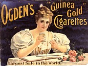 Smoking Drawings Posters - OgdenÕs 1900s Uk Cigarettes Smoking Poster by The Advertising Archives