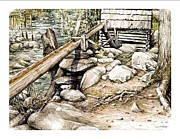 Gatlinburg Painting Framed Prints - Ogle Grist Mill Framed Print by Bob  George