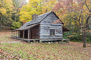 Gatlinburg Tennessee Prints - Ogle Log Cabin Print by Randy Lesley