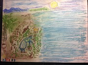 Hawaiian Folk Art Drawings - Ogo Harvest Ewa Beach by Willard Hashimoto
