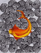 Good Luck Drawings Posters - Ogon- Koi Fish Poster by Anca S