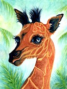 Long Neck Prints - Oh baby giraffe Print by Janine Riley