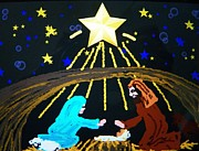 Manger Posters - Oh Holy Night Poster by Judy Via-Wolff
