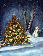 Cheer Painting Posters - Oh my. a Christmas tree Poster by Janine Riley