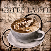 Vintage Coffee Posters - Oh My Latte Poster by Lourry Legarde