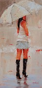 Woman With Black Hair Art - Oh Those Boots by Laura Lee Zanghetti