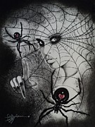 Black Widow Framed Prints - Oh What Tangled Webs We Weave Framed Print by Carla Carson