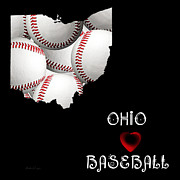 Abstract Map Posters - Ohio Loves Baseball Poster by Andee Photography