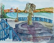 Ohio River Painting Posters - Ohio River at Rising Sun Indiana Poster by Elaine Duras