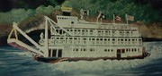 Ohio River Painting Posters - Ohio Riverboat Poster by Christy Brammer