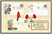 Bicentennial Prints - Ohio Sesquicentennial First Day Covers Print by Charles Robinson