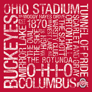Buckeyes Posters - Ohio State College Colors Subway Art Poster by Replay Photos