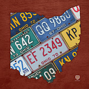 Cleveland Mixed Media Framed Prints - Ohio State Map Made Using Vintage License Plates Framed Print by Design Turnpike