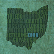 Ohio Framed Prints - Ohio State Word Art on Canvas Framed Print by Design Turnpike