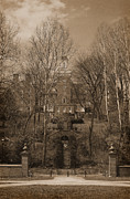 Karen Adams Acrylic Prints - Ohio University Bryan Hall Sepia Acrylic Print by Karen Adams