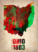 Us State Map Prints - Ohio Watercolor Map Print by Irina  March