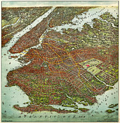 Old Map Paintings - Ohmans map of Brooklyn 1908 by MotionAge Art and Design - Ahmet Asar