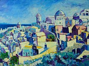 Churches Painting Originals - Oia by Ana Maria Edulescu