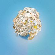 Fish. Spherical Prints - Oia Panorama planet 02 Print by Antony McAulay
